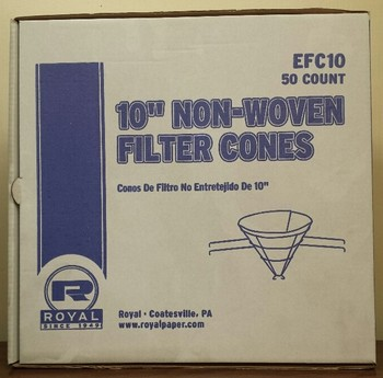 Picture of item 585-302 a Grease Filter Cones 10 Inch.  Paper Construction.  50 Cones/Box. MFG #EFC10