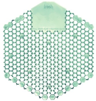 Picture of item 528-403 a Wave 3D Urinal Screens. Cucumber Melon Scent. Green. 10 per Box, 60 per Case.