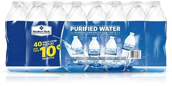 Picture of item 965-407 a Member's Mark Purified Bottled Water. 16.9 oz bottles. 40 count.