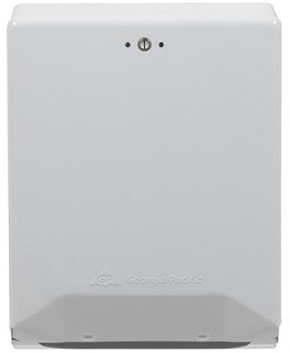Picture of item 975-589 a GP Georgia-Pacific White Combination C-Fold/ Multifold Paper Towel Dispenser. 11.750 X 4.438 X 15.500 in. White.