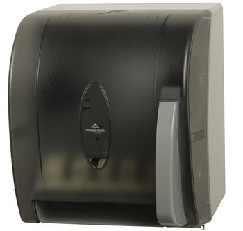Picture of item 892-306 a Georgia-Pacific Push Paddle Roll Paper Towel Dispenser. 12.5 X 10.6 X 14.4 in. Translucent Smoke.