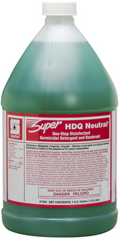 Picture of item 604-137 a Super HDQ Neutral®.  One Step Disinfectant Germicidal Detergent and Deodorant.  1 Gallon Bottle, 4 Gallons/Case.