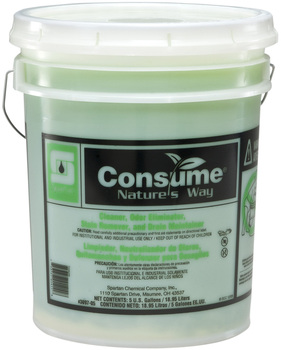 Picture of item 604-113 a Consume®.  Cleaner, Odor Eliminator, Stain Remover, and Drain Maintainer.  5 Gallon Pail.