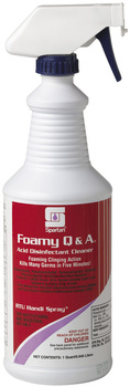 Picture of item 604-114 a Foamy Q & A®.  Acid Disinfectant Cleaner.  Includes gloves and 3 trigger sprayers.  1 Quart.