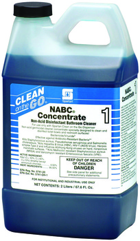Picture of item 672-305 a NABC® Concentrate 1.  Non-acid disinfectant bathroom cleaner. Kills HCV, HBV and HIV-1 (AIDS Virus). EPA Reg. #5741-20. Use with standard Clean on the Go dispenser or Lock & Dial dispenser.  2 Liters.