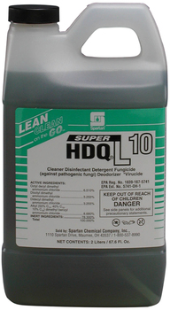 Picture of item 672-335 a Super HDQ®L 10.  No-rinse disinfectant detergent. Use only with Lean Clean on the Go dispenser or Lock & Dial dispenser. EPA Reg. #1839-167-5741.  2 Liters.