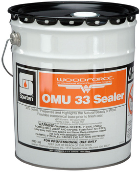 Picture of item 683-203 a WOODFORCE® OMU 33 Sealer.  Deep penetrating seal for new or freshly sanded wood floors.  5 Gallons.