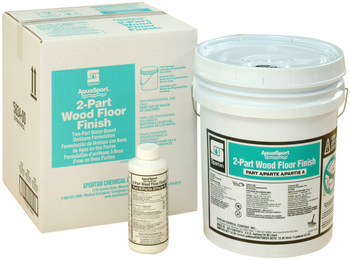 Picture of item 683-208 a AquaSport® 2-Part Wood Floor Finish.  Water-based urethane wood floor finish.  Ideal for sport wood floors or high traffic areas.  5 Gallons.