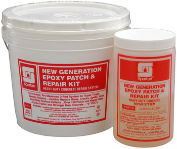 Picture of item 681-114 a New Generation Epoxy Patch & Repair Kit.  Heavy-Duty Concrete Repair System. Part A Epoxy Mortar Part B Curing Agent 80 fl. oz. 144 cubic inches  .