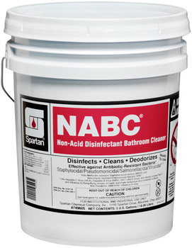 Picture of item 601-118 a NABC®.  Non-Acid Disinfectant Bathroom Cleaner. Ready-to-use. Kills HBV and HCV on inanimate surfaces. EPA Reg. #5741-18.  5 Gallons.