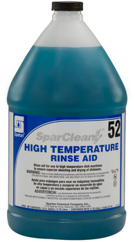 SparClean™ High Temperature Rinse Aid #52.  Ensures superior water sheeting and drying of dishware and utensils in high temperature dish machines.  1 Gallon.