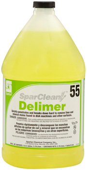 Picture of item H619-508 a SparClean™ Delimer #55.  Quickly penetrates and breaks down even the most hard to remove lime and mineral deposits found in both low and high temperature dish machines.  1 Gallon.