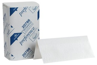 Picture of item 873-200 a Preference® Singlefold Paper Towels. 9.25 X 10.25 in. White. 4000 towels.