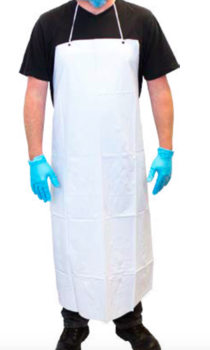 Picture of item 968-942 a Vinyl Apron.  35″ X 45″.  6 Mil Thick.  White Color.