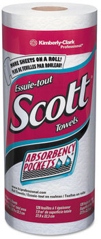 Scott® Kitchen Towel Rolls with Absorbency Pockets,  11 x 8 25/32, White, 128/Roll, 20 Rolls/Carton