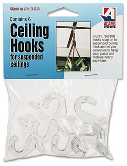 Picture of item ADM-1900993241 a Adams Manufacturing Ceiling Hook,  5/16 x 3/4 x 1 3/8, 6/Pack