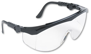 Picture of item CRW-TK110 a Crews® Tomahawk® Safety Glasses,  Black Nylon Frame, Clear Lens, 12/Box