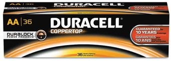 Duracell® CopperTop® Alkaline Batteries with Duralock Power Preserve™ Technology,  AA, 36/Pk