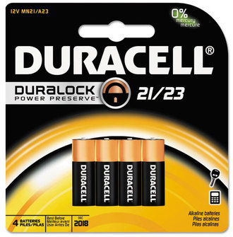 Picture of item DUR-MN21B4 a Duracell® CopperTop® Alkaline Batteries with Duralock Power Preserve™ Technology, 12V, 4/Pk