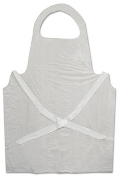 Picture of item BWK-390 a Boardwalk® Disposable Apron,  White, Polyethylene, 32 x 50, 1 mil, 100/Pack