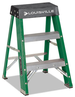 Louisville® Folding Fiberglass Step Stool,  17w x 22 Spread x 24h