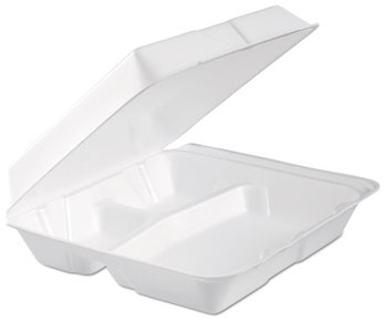 Picture of item 217-103 a Dart® Foam Hinged Lid Containers,  3-Comp, 9.3 x 9 1/2 x 3, White, 100/Bag, 2 Bag/Carton
