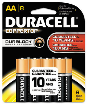 Duracell® CopperTop® Alkaline Batteries with Duralock Power Preserve™ Technology,  AA, 8/Pk
