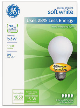 GE Energy-Efficient Halogen Bulb,  4/Pack
