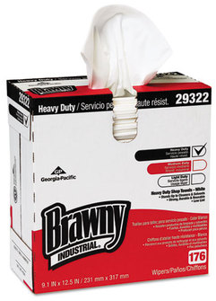 Brawny Industrial® Heavy Weight HEF Disposable Shop Towels,  9x12.5, White, 176/Box, 10 Box/Crtn