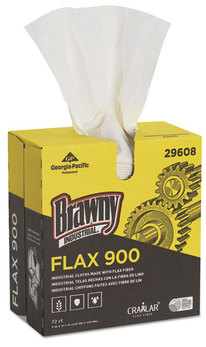 Picture of item GEP-29608 a Brawny Industrial® FLAX Cleaning Cloths,  9 x 16 1/2, White, 72/Box, 10 Box/Carton