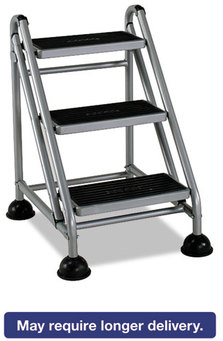 Cosco® Rolling Commercial Step Stool,  3-Step, 26 3/5 Spread, Platinum/Black