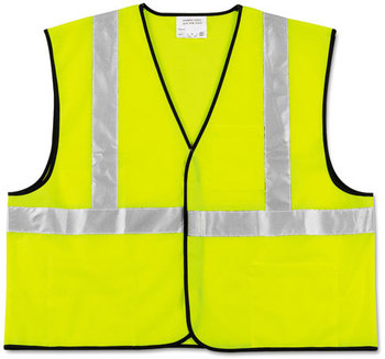 Picture of item CRW-VCL2SLXL2 a MCR™ Safety Luminator™ Class 2 Safety Vest,  Fluorescent Lime w/Silver Stripe, Polyester, 2X