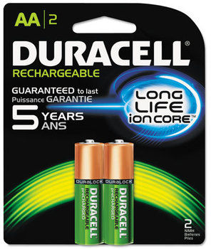 Picture of item DUR-NLAA2BCD a Duracell® Rechargeable NiMH Batteries with Duralock Power Preserve™ Technology,  AA, 2/Pk
