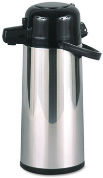 Hormel Commercial Grade 2.2 Liter Airpot,  w/Push-Button Pump, Stainless Steel/Black