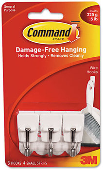 Picture of item MMM-17067 a Command™ General Purpose Hooks,  Small, Holds 1lb, White, 3 Hooks & 6 Strips/Pack