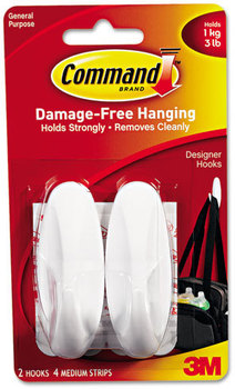 Picture of item MMM-17081 a Command™ General Purpose Hooks,  Designer, Holds 3lb, White, 2 Hooks & 4 Strips/Pack