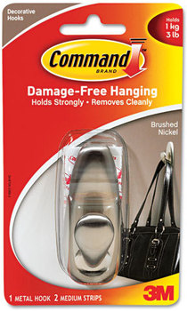 Picture of item MMM-FC12BN a Command™ Metal Hooks,  Medium, Brushed Nickel Finish, 1 Hook & 2 Strips/Pack