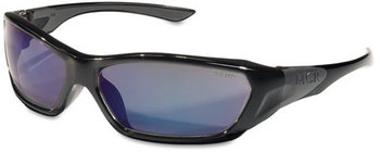 Picture of item CRW-FF128B a Crews® Forceflex™ Professional Grade Safety Glasses. Black Frame with Blue Lens.