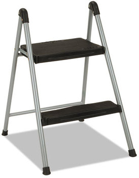 "Cosco® Folding Step Stool,  2-Step, 200lb, 16 9/10"" Working Height, Platinum/Black"