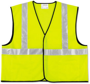 Picture of item CRW-VCL2SLL a MCR™ Safety Luminator™ Class 2 Safety Vest,  Fluorescent Lime w/Silver Stripe, Polyester, Large