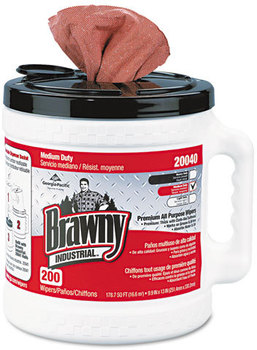 Georgia Pacific® Professional Brawny Industrial® Medium Duty Premium Refillable Dry Wiper System,  10 x 13, Orange, 200/Can, 2 Cans/Carton
