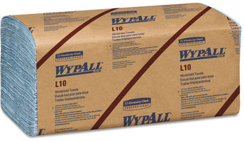 Picture of item 874-301 a WypAll* L10 Windshield Towels,  9 3/10 x 10 1/2, Light Blue, 140/Pack, 16 Packs/Carton