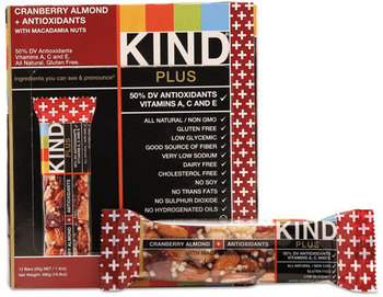 Picture of item KND-17211 a KIND Plus Nutrition Boost Bars,  Cranberry Almond and Antioxidants, 1.4 oz, 12/Box