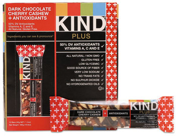 Picture of item KND-17250 a KIND Plus Nutrition Boost Bars,  Dk ChocolateCherryCashew/Antioxidants, 1.4 oz, 12/Box