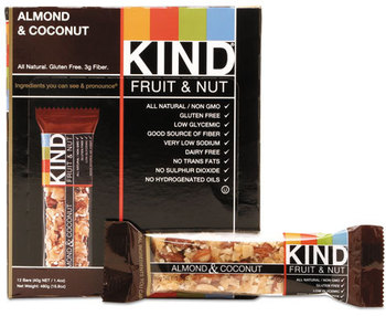 Picture of item KND-17828 a KIND Fruit and Nut Bars,  Almond and Coconut, 1.4 oz, 12/Box