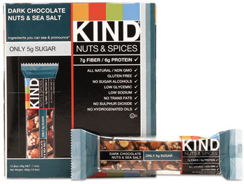 Picture of item KND-17851 a KIND Nuts and Spices Bar,  Dark Chocolate Nuts and Sea Salt, 1.4 oz, 12/Box