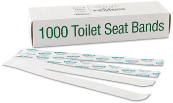 "Bagcraft Papercon® Sani/Shield Toilet Seat Bands,  Paper, Blue/White, 16"" Wide x 1-1/2"" Deep"