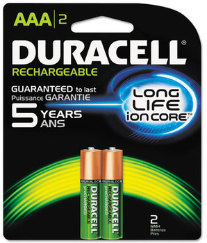 Duracell® Rechargeable NiMH Batteries with Duralock Power Preserve™ Technology,  AAA, 2/Pk