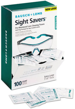 Picture of item BAL-8576 a Bausch & Lomb Sight Savers Pre-Moistened Anti-Fog Tissues with Silicone,  100/Pack