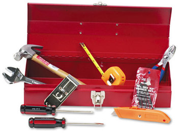 Great Neck® 16-Piece Light-Duty Office Tool Kit,  Metal Box, Red